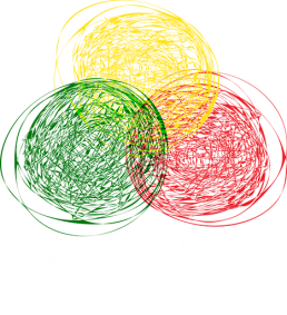 Analytic Domains Logo - Green, red, yellow circles in a triangle shape