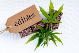 Medical Edible Brownies with cannabis leaves and an edibles hangtag