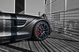 Mercedes Benz in parking garage