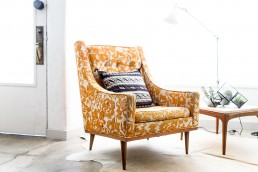 Gold Floral Pattern Chair - homedecoraustin.com
