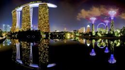 Colorful Marina Bay in Singapore at night
