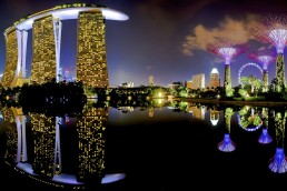 Colorful Marina Bay in Singapore at night