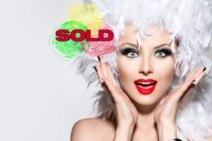 Sexy-Woman-with-white-feather-wig---SOLD