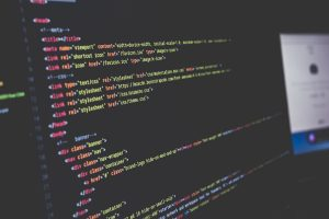 Monitor-displaying-sparse-lines-of-html-code