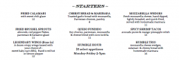 Humblebrags Starter Menu Items