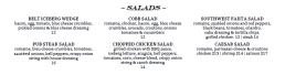 Humblebrags Salad Menu Items